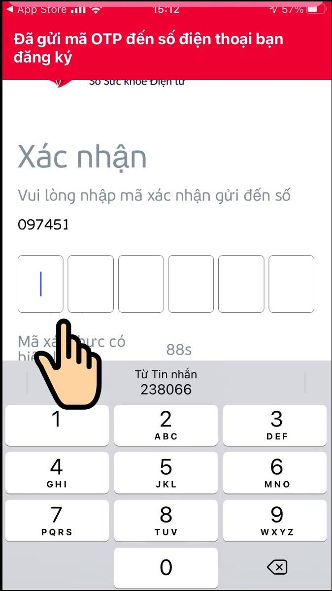 Nhập mã OTP gửi đến số điện thoại đăng kí