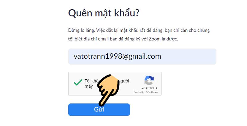 Điền địa chỉ email