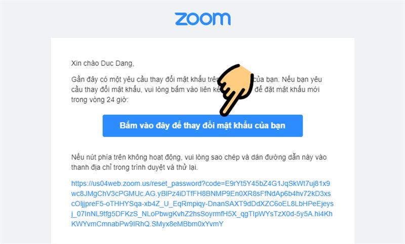 Mở thư của hệ thống Zoom gửi đến
