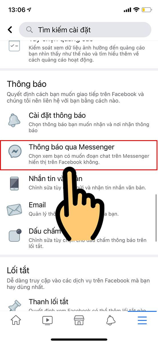 Chọn Thông báo qua Messenger