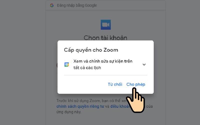 Nhấn Cho phép để cấp quyền cho Zoom xem và chỉnh sửa sự kiện trênGoogle Calendar