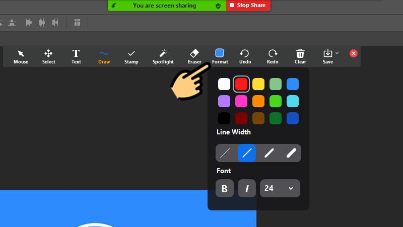 Xuất hiện menu các công cụ