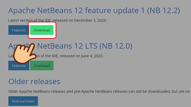 Vào trang web tải NetBeans IDE, chọn Download ở phiên bản mới nhất