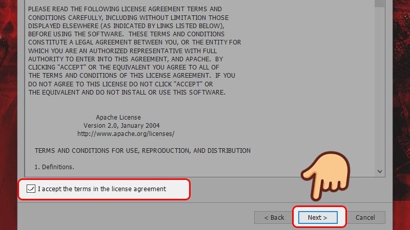 Tích vào ô I accept the terms in the license agreement và chọn Next