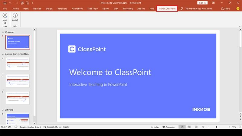 Giao diện của ClassPoint sau khi cài đặt xong