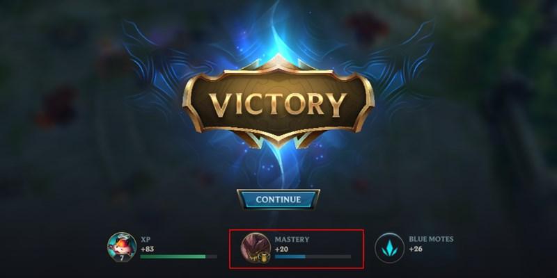 Phần thưởng điểm thông thạo xuất hiện sau trận đấu