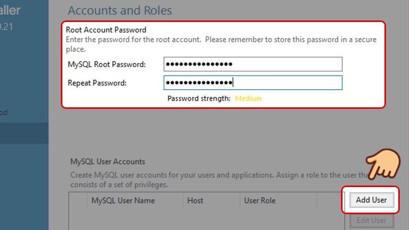 Đặt mật khẩu và xác nhận lại mật khẩu của bạn, tiếp đến chọn Add user để thêm tài khoản sử dụng