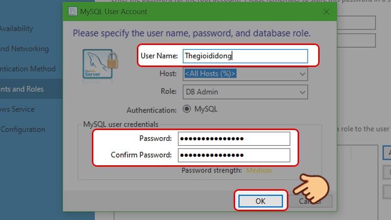 Đặt tên tài khoản và nhập mật khẩu. Kế tiếp chọn Next