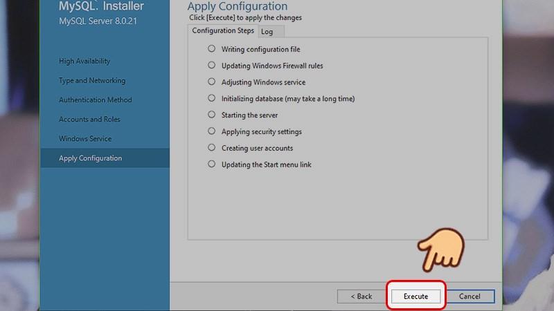 Ở mục Áp dụng cấu hình (apply configuration), chọn Execute để áp dụng