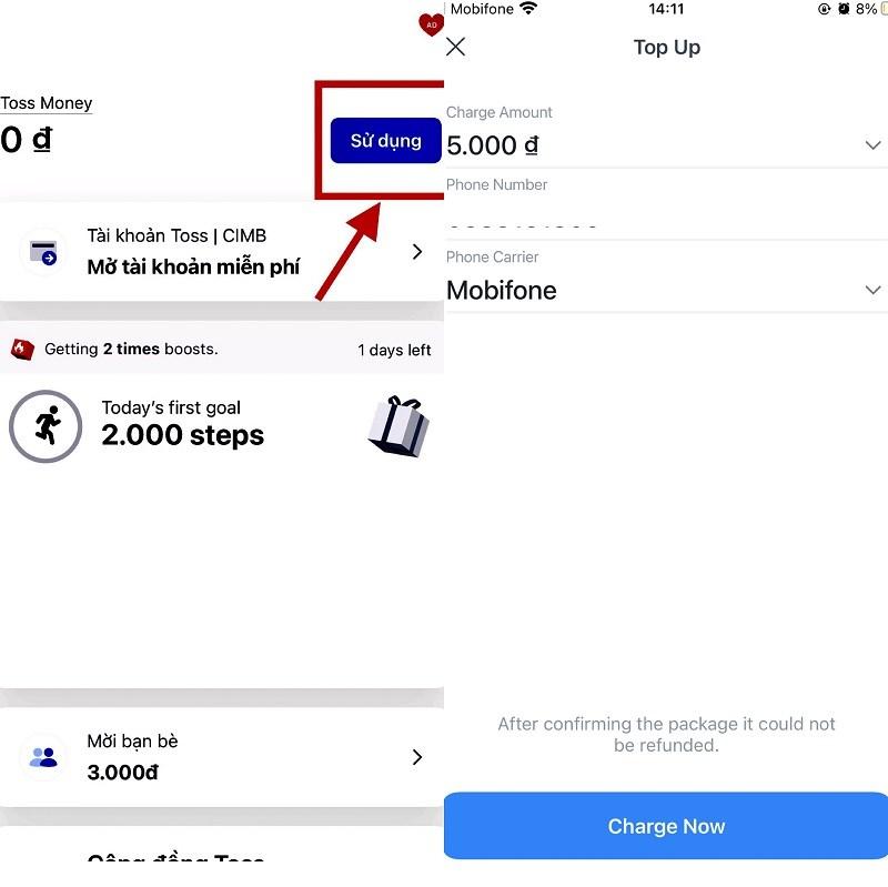Bấm nút Sử dụng và chọn số tiền đổi thưởng