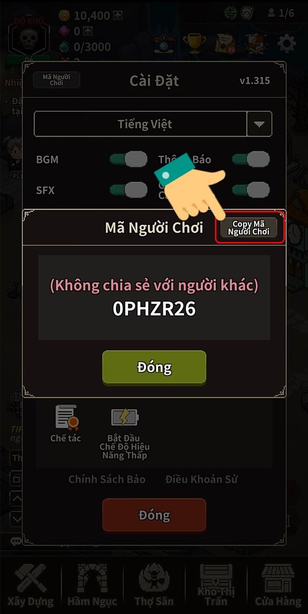 Copy mã người chơi