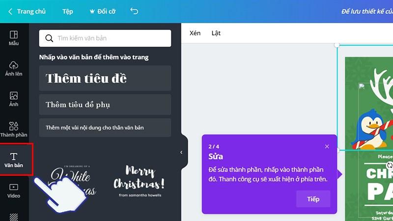 Thêm các văn bản vào thiệp mời và lựa chọn các kiểu chữ đa dạng