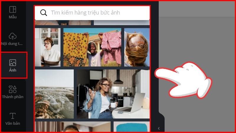 Nếu không kiếm được hình ảnh như ý bạn có thể sử dụng các hình ảnh có sẵn bằng cách chọn vào mục Ảnh