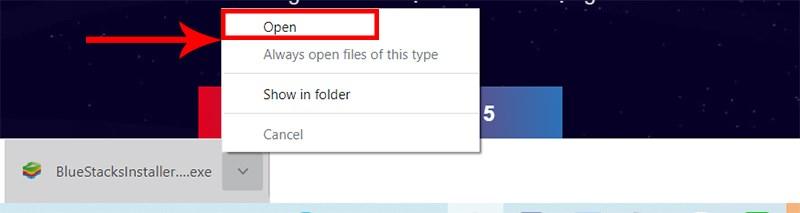Nhấn chuột phải tại file cài đặt và chọn Open