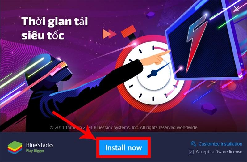 Nhấn Install và chờ BlueStacks được cài vào máy