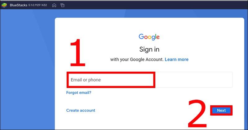 Nhập Email và nhấn Next