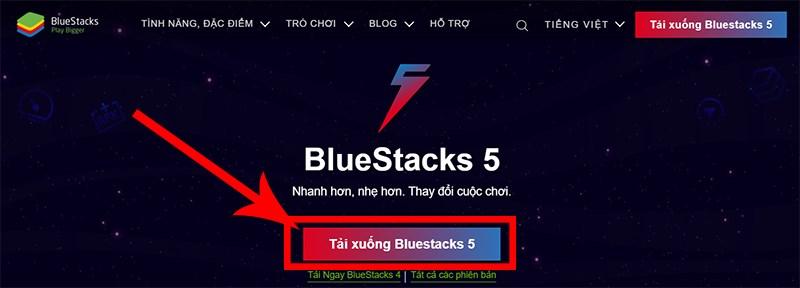 Chọn Tải xuống BlueStacks 5