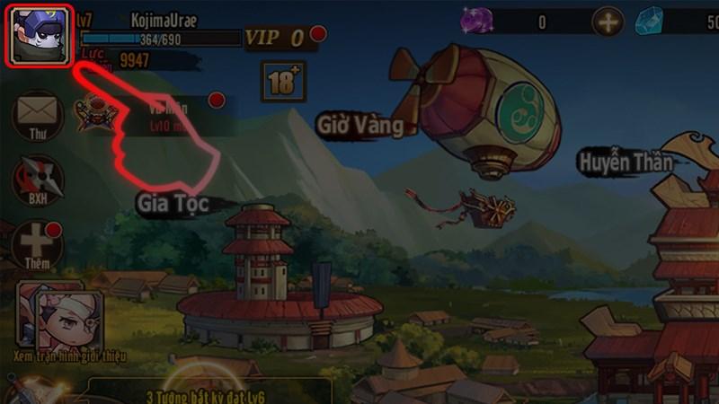 Bước 1: Vào game và chọn vào Avartar của bạn.