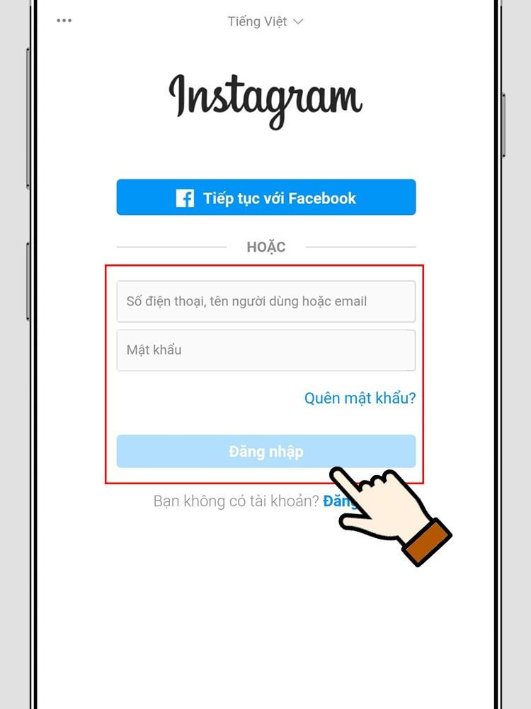 Đăng nhập vào Instagram nếu có.