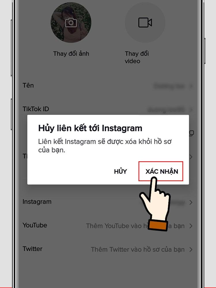 Nếu muốn hủy liên kết, bạn chọn lại vào Instagram > Chọn Xác nhận để hủy liên kết