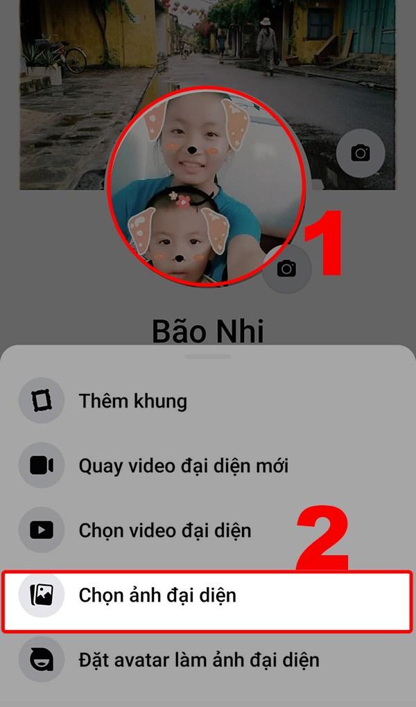 Nhấn vào hình đại diện và chọn vào Chọn ảnh đại diện.