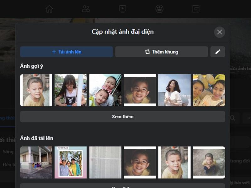 Bạn chọn Tải ảnh lên và chọn hình muốn thay đổi làm ảnh đại diện mới hoặc chọn từ thư viện ảnh gợi ý.