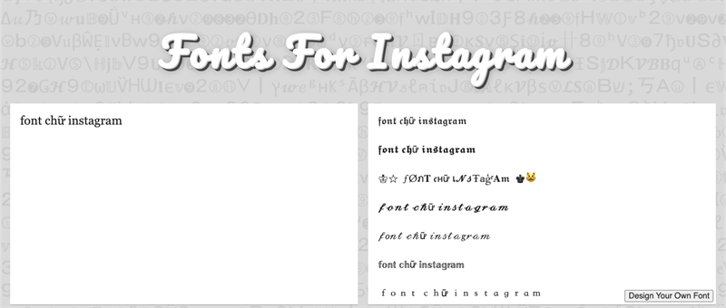 Font forkênh Instagram