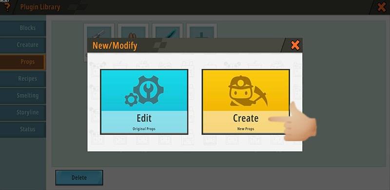 Chọn Create New Props (màu vàng) như trong hình để tiếp tục.