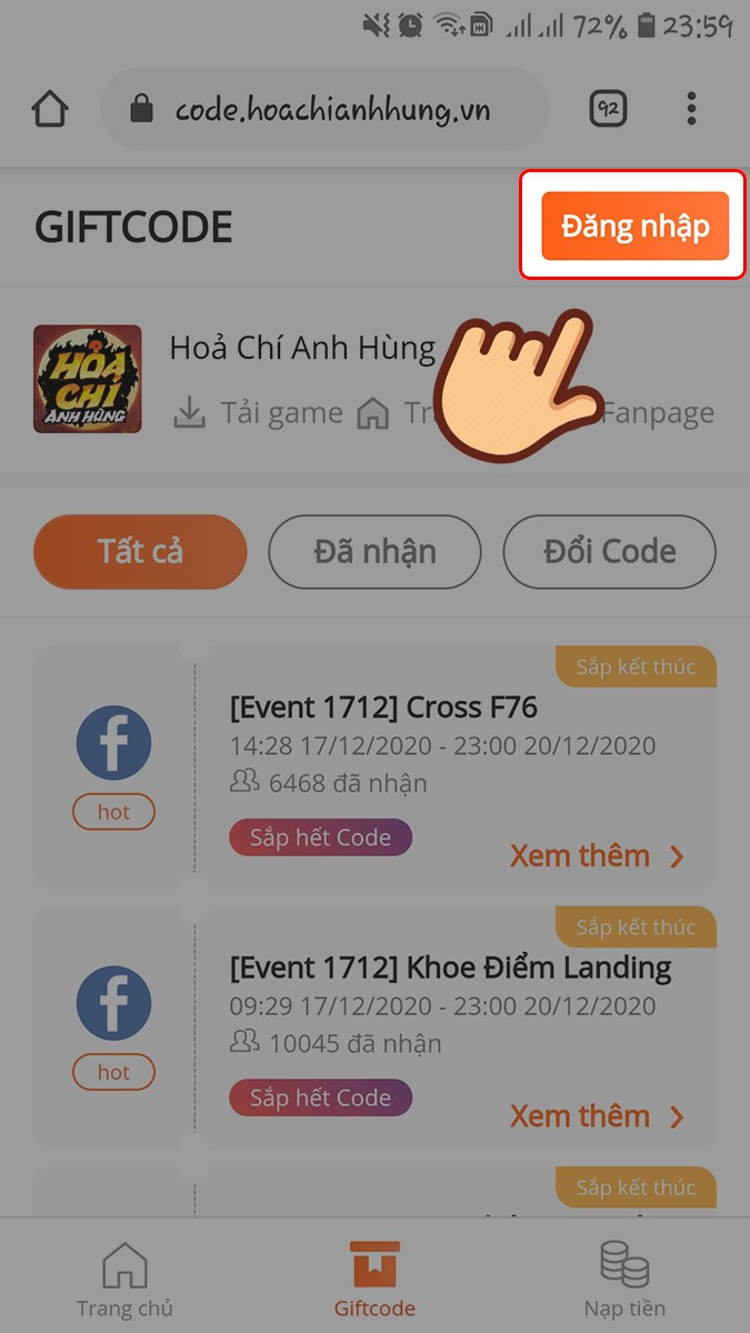 Truy cập trang web nhập code Hỏa Chí Anh Hùng, chọn Đăng nhập