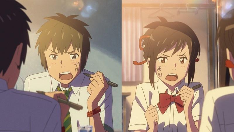 Taki và Mitsuha bối rối khi nhận ra đã bị hoán đổi linh hồn