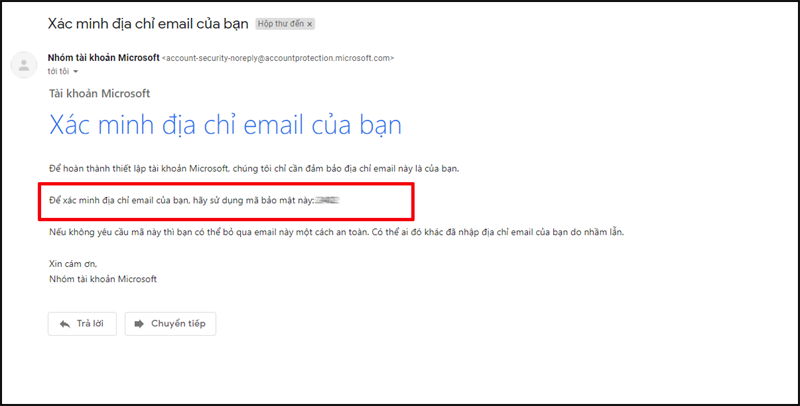 Kiểm tra thông tin mã xác nhận được gửi qua email của bạn