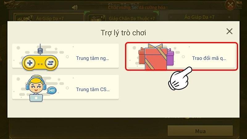 Chọn mục Trao đổi mã quà