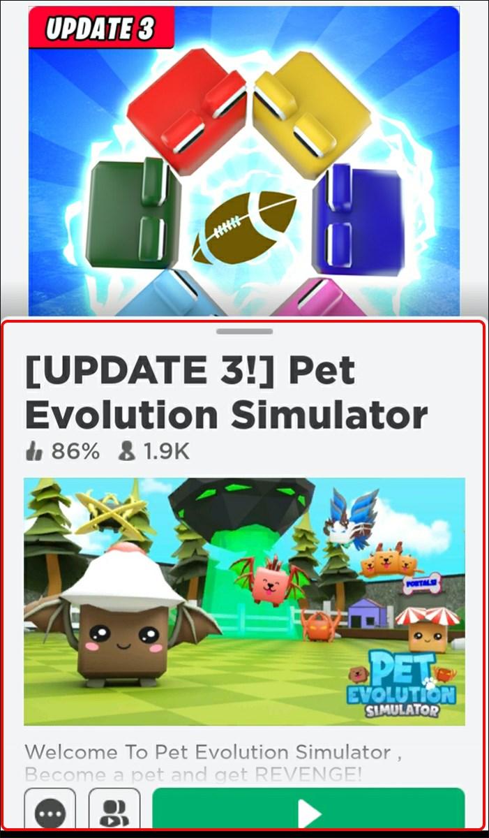 Chọn Pet evolution simulator và nhấn nút Play