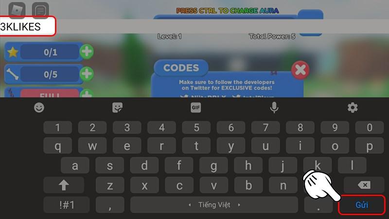 Nhập code và nhấn Gửi