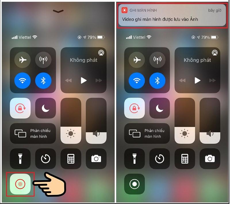Nhấn biểu tượng quay hình tròn để kết thúc và lưu video