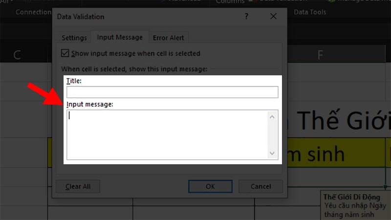 Xóa toàn bộ ký tự bạn đã thêm vào phần Title và Input Message