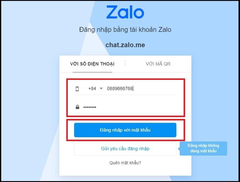 Điền thông tin đăng nhập trên Zalo web