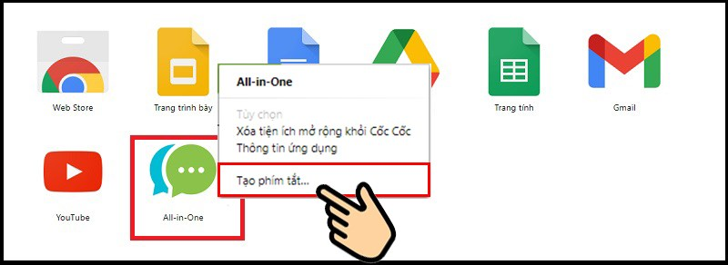 Chọn All-in-One ấn chuột phải