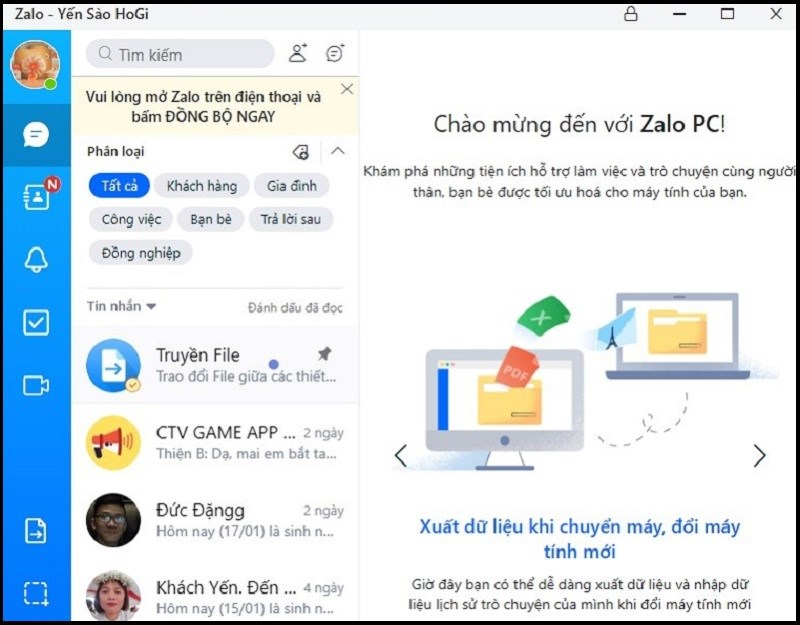 Tài khoản Zalo thứ 2 đã được đăng nhập trên Zalo PC