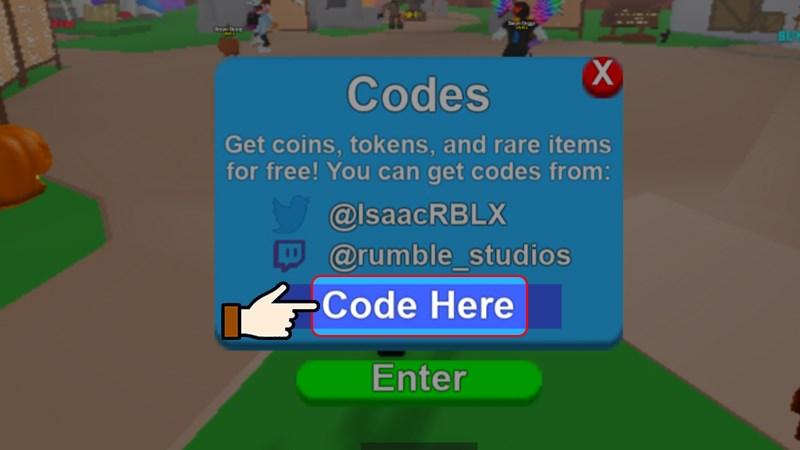 Nhập mã code vào ô trống Code Here