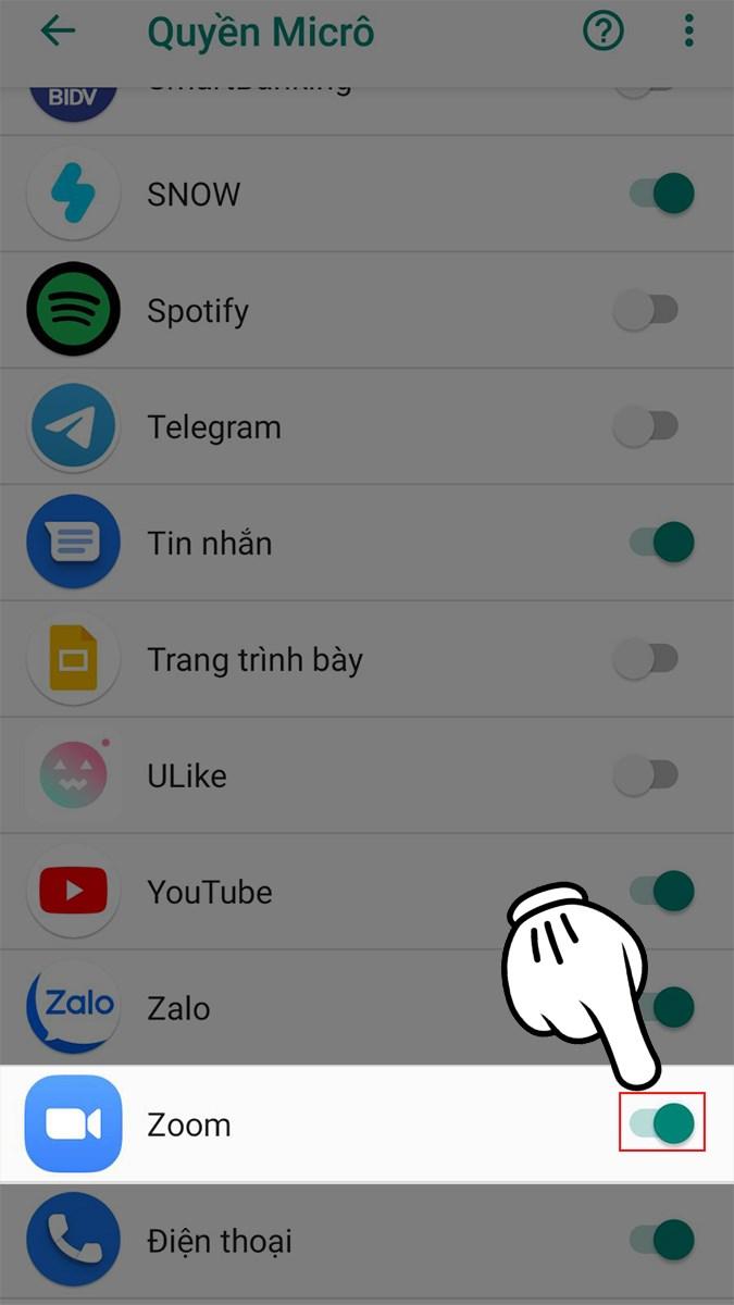 Tìm ứng dụng Zoom và cấp quyền cho ứng dụng