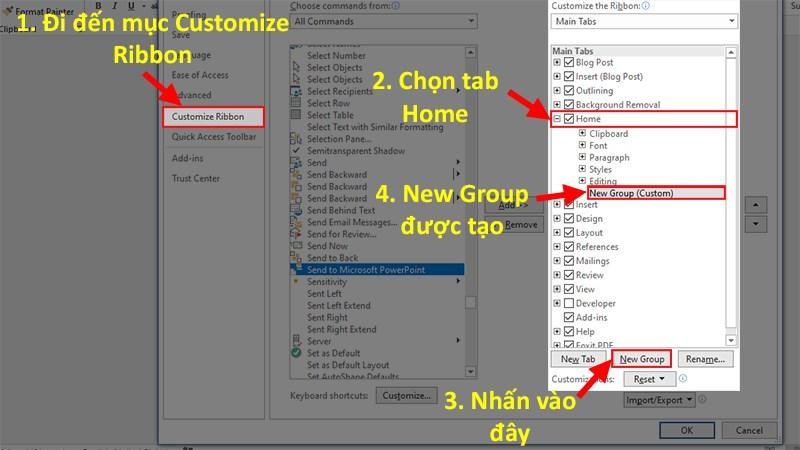 Đi đến mục Customize Ribbon > Ở cột Customize the Ribbon > Nhấn chọn Thẻ Home > Chọn New Group.