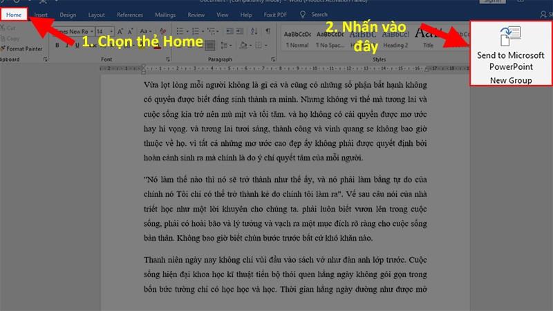 Quay lại giao diện Word > Đến Thẻ Home > Nhấn vào Send to Microsoft PowerPoint để chuyển toàn bộ dữ liệu từ file Word sang PowerPoint