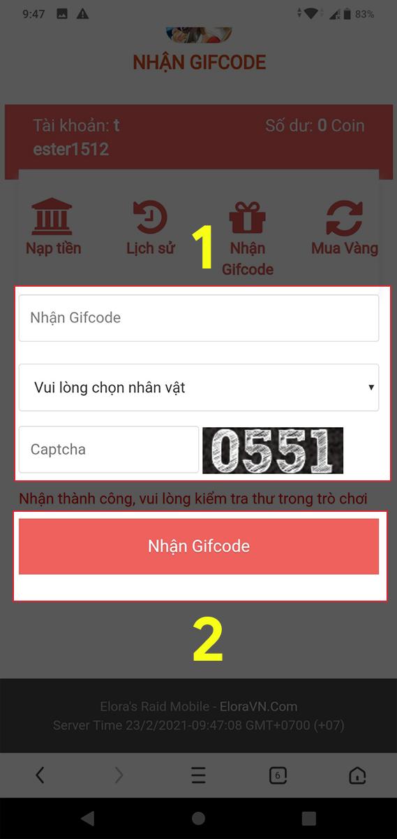 Nhập giftcode, chọn nhân vật và nhập mã Captcha