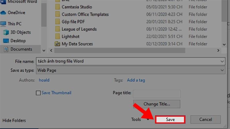 Nhấn Save để tách ảnh trong Word