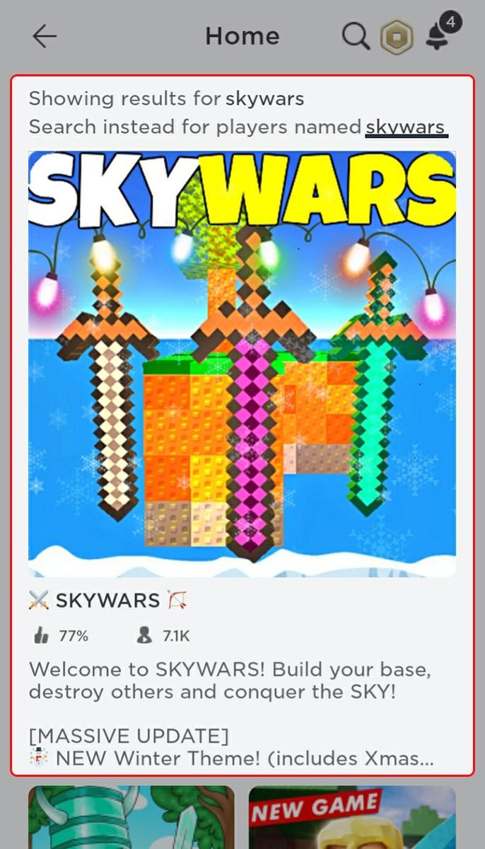 Tìm và chọn mode chơi Skywars