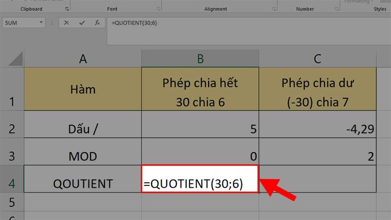 Nhập công thức =QUOTIENT(30;6)