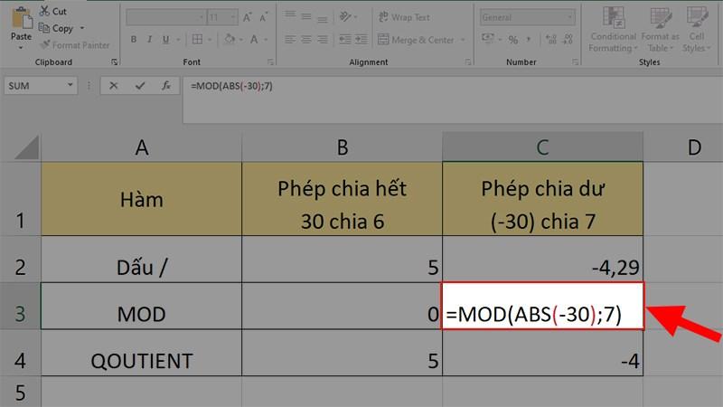 Nhập công thức =MOD(ABS(-30);7) ở ô kế bên