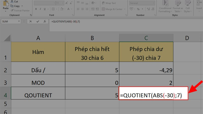 Dùng hàm ABS kết hợp với hàm QUOTIENT