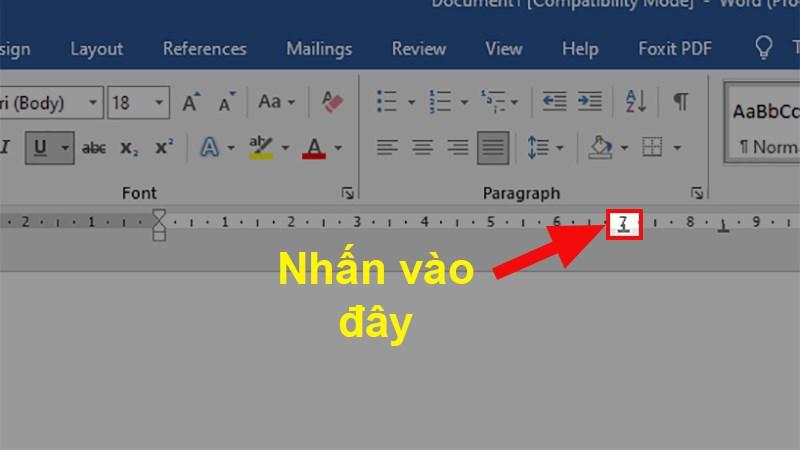 Nhấn 2 lần chuột trái vào ký tự Tab trên thanh thước trong Word